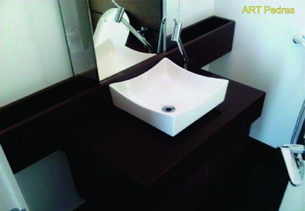 Bancada de Granito Marrom Absoluto  ART Pedras -> Pia De Banheiro Granito Marrom Absoluto
